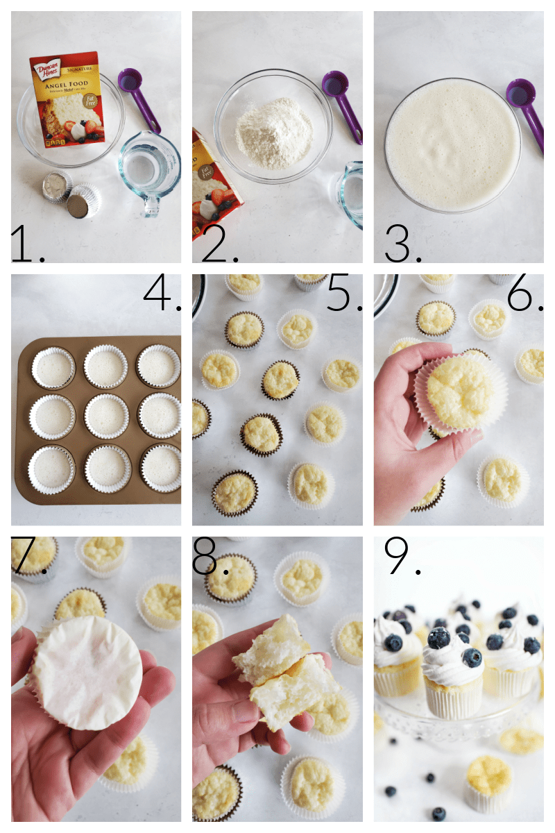How to Make Angel Food Cupcakes Recipe. A visual 9 block grid of how to make these low fat cupcakes.