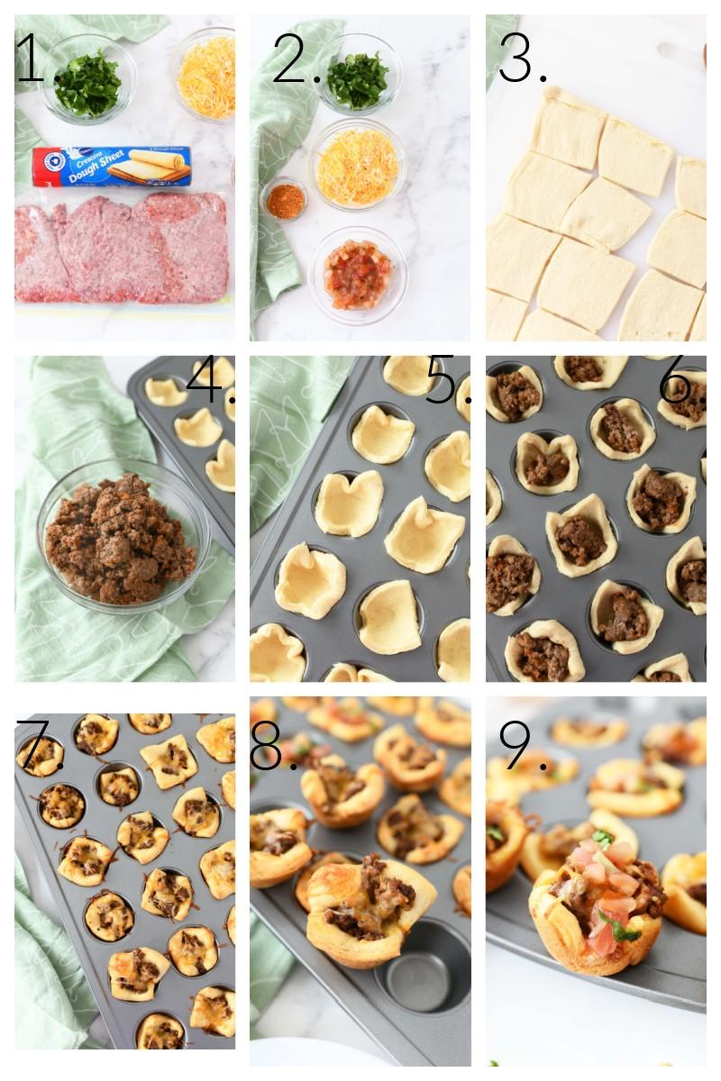 A 9 image collage of the process on how to Make Crescent Dough Tacos. The images showcase from raw ingredients to the finished product.
