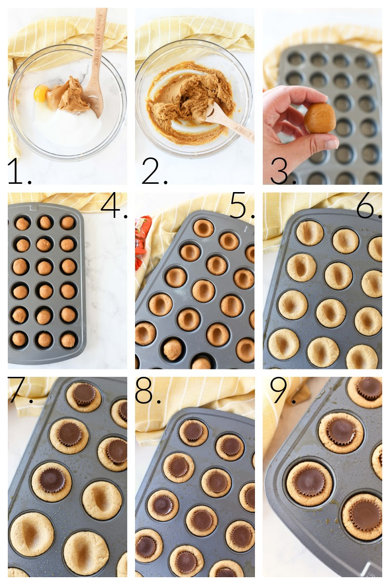 How to Make Mini Peanut Butter Cup Cookies. This is a 9 image collage that showcases it from start to finish.