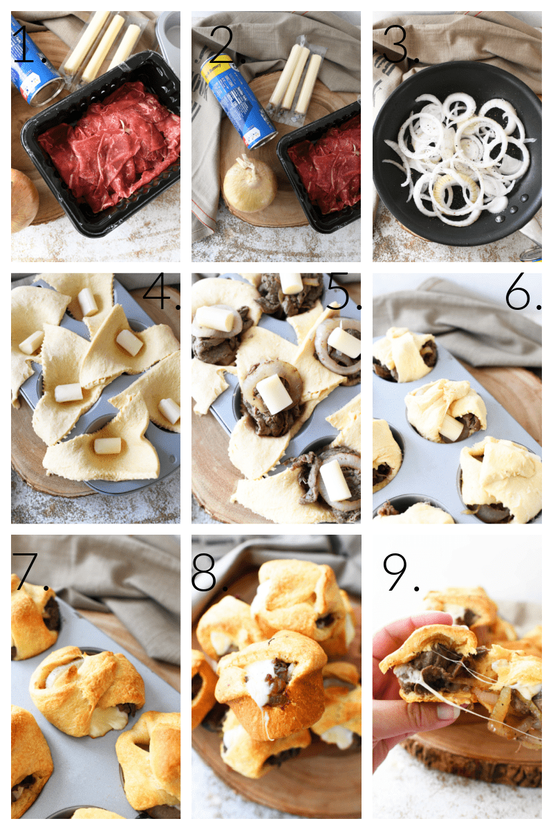 How to make steak and cheese bites. A visual, numbered 9 block grid of the process from raw ingredients to the finished bites.