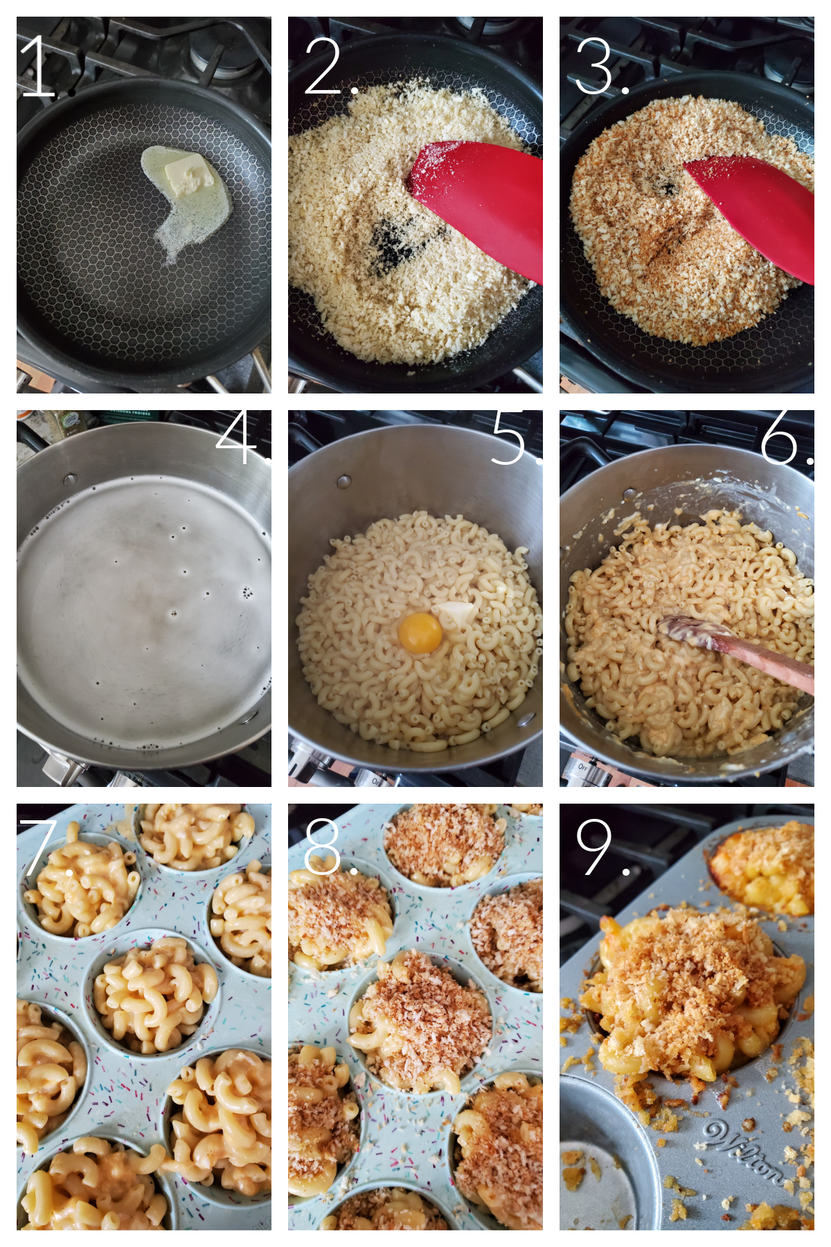 How to Make Muffin Pan Macaroni and Cheese. A visual 9-block guide to making macaroni and cheese in a muffin pan.