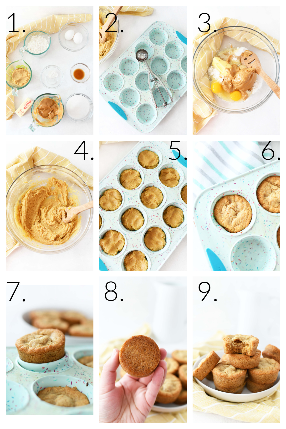 How to Make Peanut Butter Brownies in a Muffin Pan. A visual collage of 9 blocks that showcase the process steps.