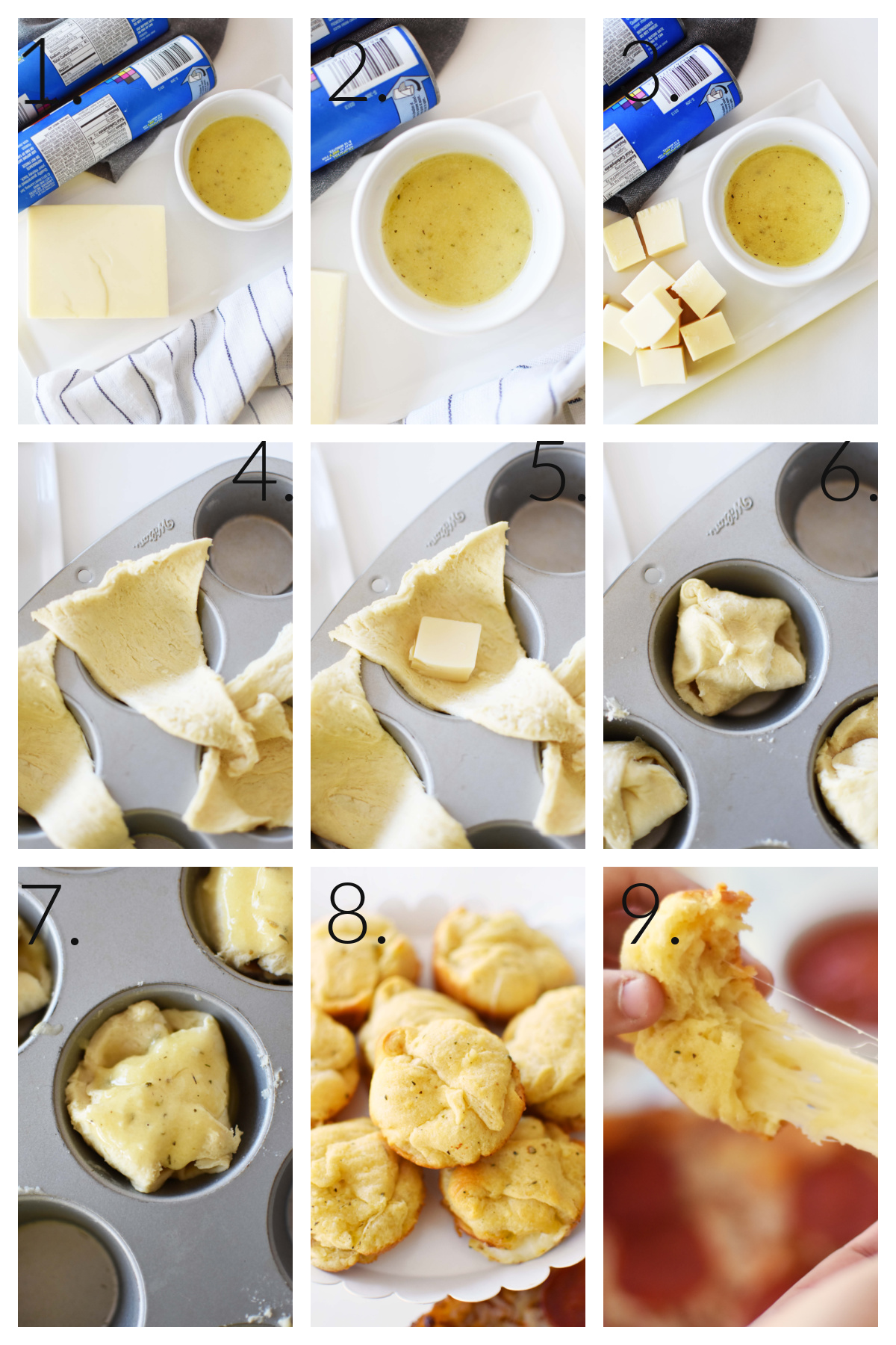 How to make Cheese Garlic Crescent Bites- A 9 block visual collage of the steps to make these bites.