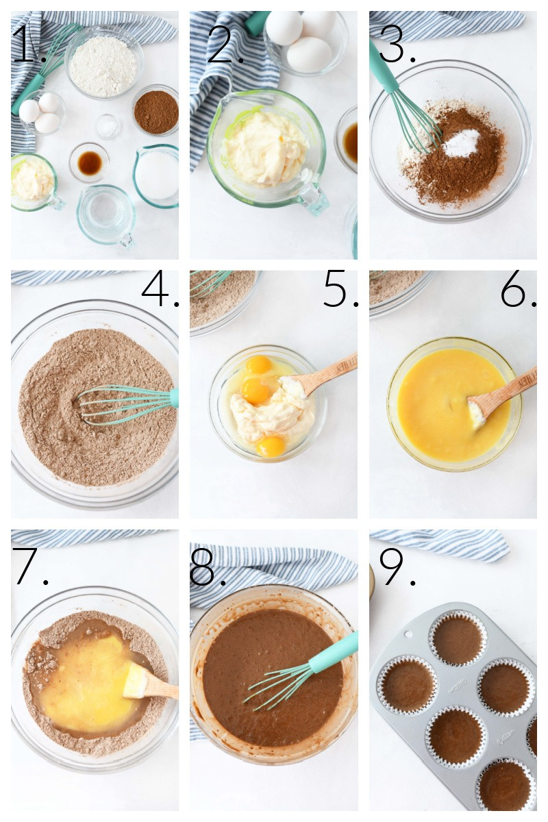 How to make chocolate mayo cupcakes. A numbered collage image that showcase the steps to make these cupcakes from start to finish.