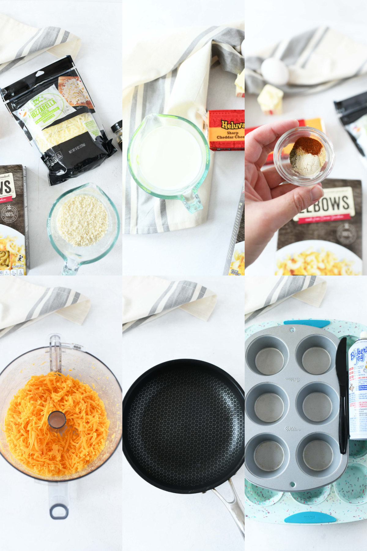 How to make muffin tin mac & cheese. A visual 6 image collage of the ingredients and supplies needed to make this recipe.